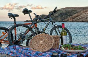 Bike and a taste of wine on Fokos Beach - Mykonos Island