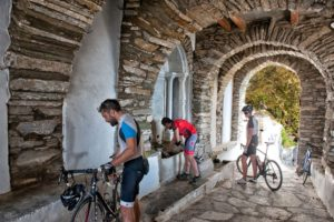 Cycling and resting in Kardiani Village - Tinos Island
