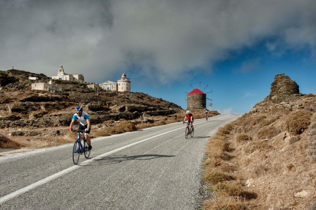 Cycling through Isternia Village - Tinos Island