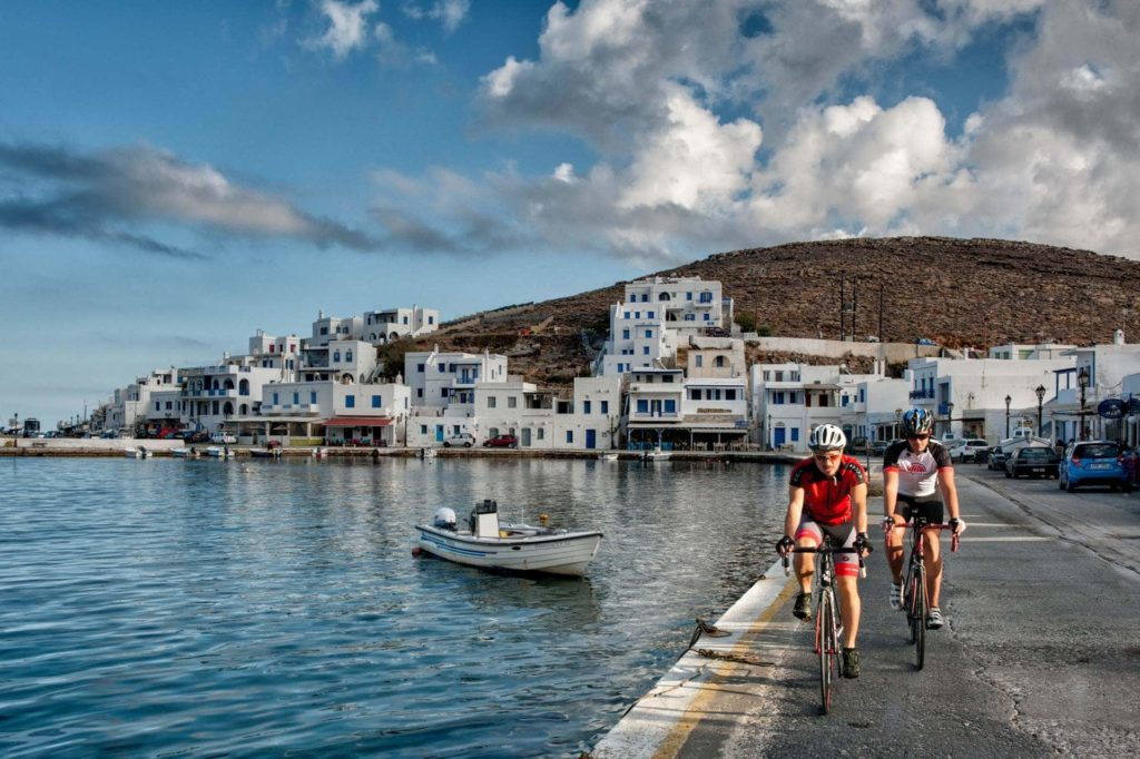 Cycling in Panormos Village - Tinos Island