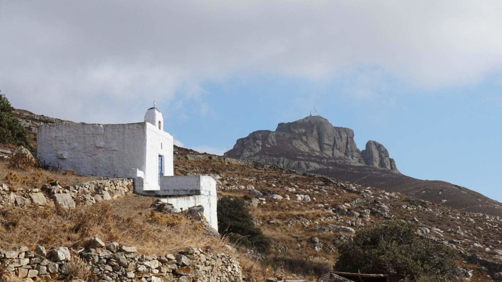 The rock of Exomvourgo - Tinos Island