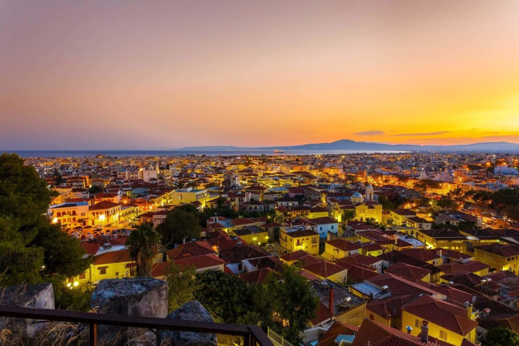The skyline of Kalamata city during sunset as captured during our cycling activities here