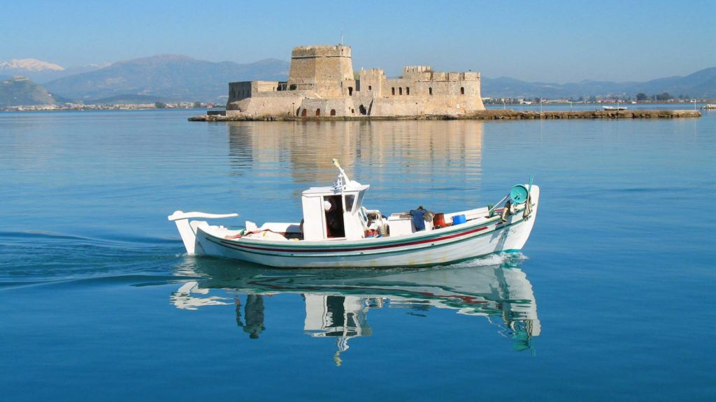 The view of Bourgi from Nafplio promenade