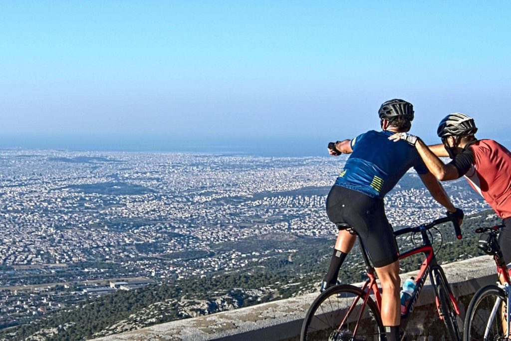 Road Cycling in Athens - Overlook of Athens city while climbing mountain Parnitha - Gr Cycling