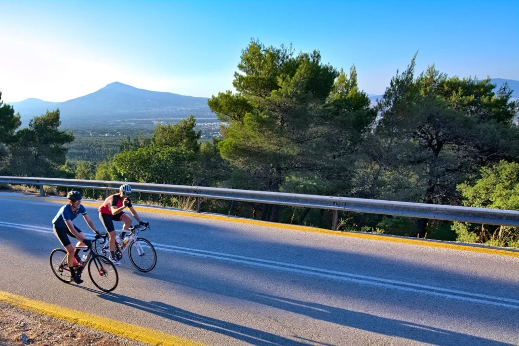 Climbing mt. Parnitha with our road bikes in the morning - Gr Cycling