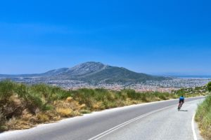 The panoramic view of the city of Athens while descending to the top of Mt. Penteli - Road cycling in Athens by GrCycling