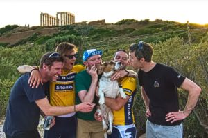 One of our rides just ended at the archaeological site of the Ancient Temple of Poseidon in Cape Sounio. It is obvious that we were attached by the love of a dog - Road Cycling in Athens by GrCycling