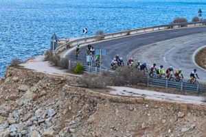 Cycling in a club towards Sounio and the ancient temple of Poseidon