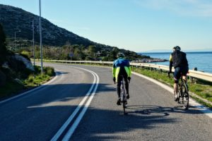 Cycling in Athens (Sounio): Me, Matthias and Frank