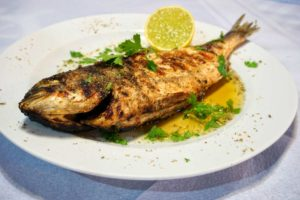 Fish dish served in Leonidio Restaurants for cyclists
