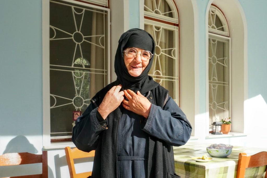 A kind and sweet nun always welcomes visitor to her monastery in Leonidio