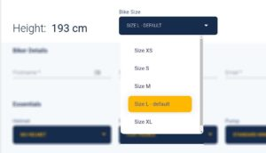 Screenshot of how to select the bike rental size