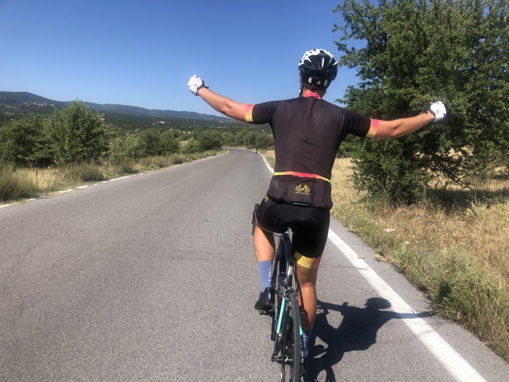 Cyclist feeling very happy in Xiropigado, Peloponnese