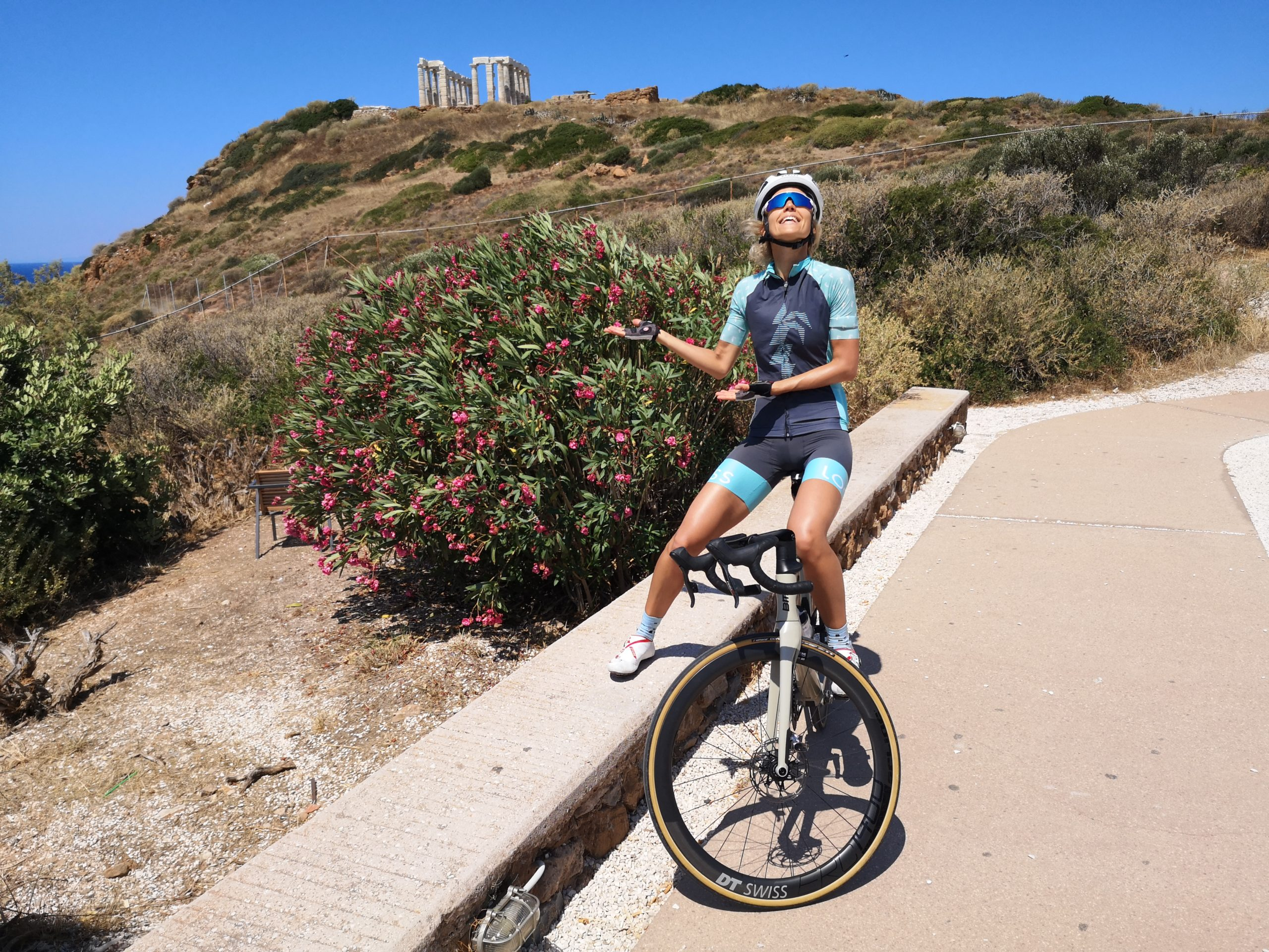 Cycling in Athens towards Sounio peninsula