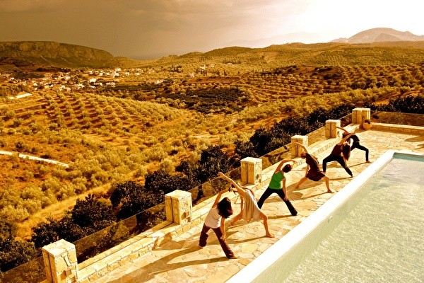 Morning stretching and view from Perivoli hotel