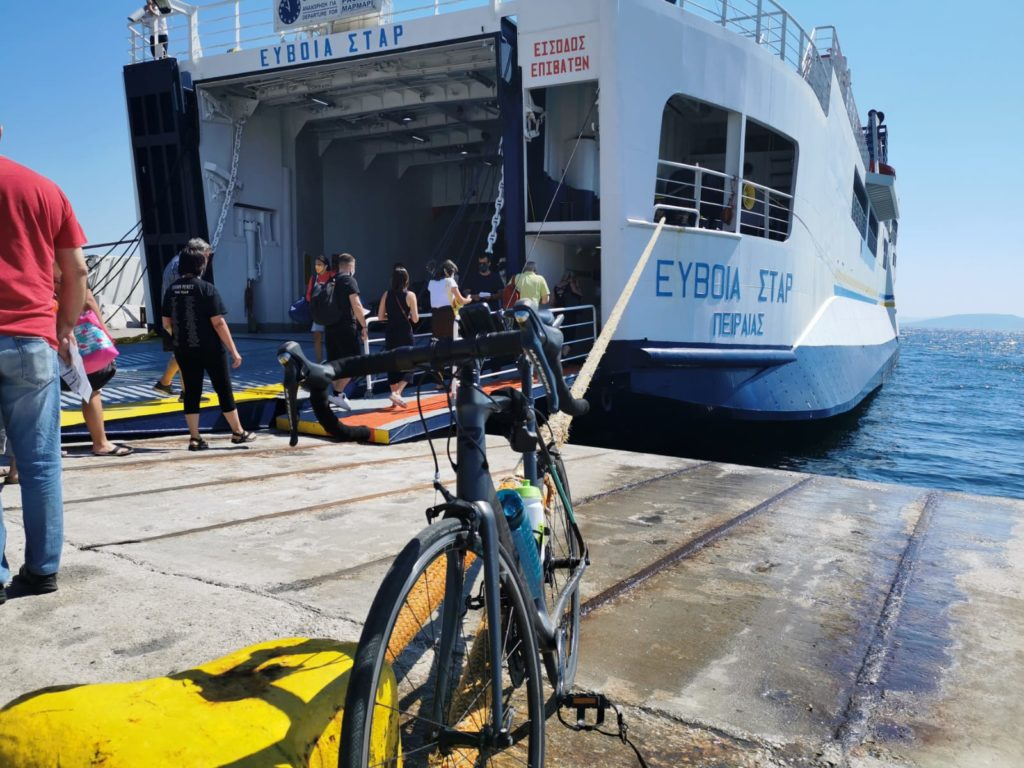 Getting onboard a ferry from Dikastika to Evia island