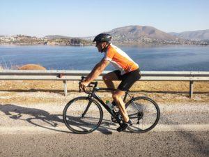 Recreational cycling towards Sounio Athens