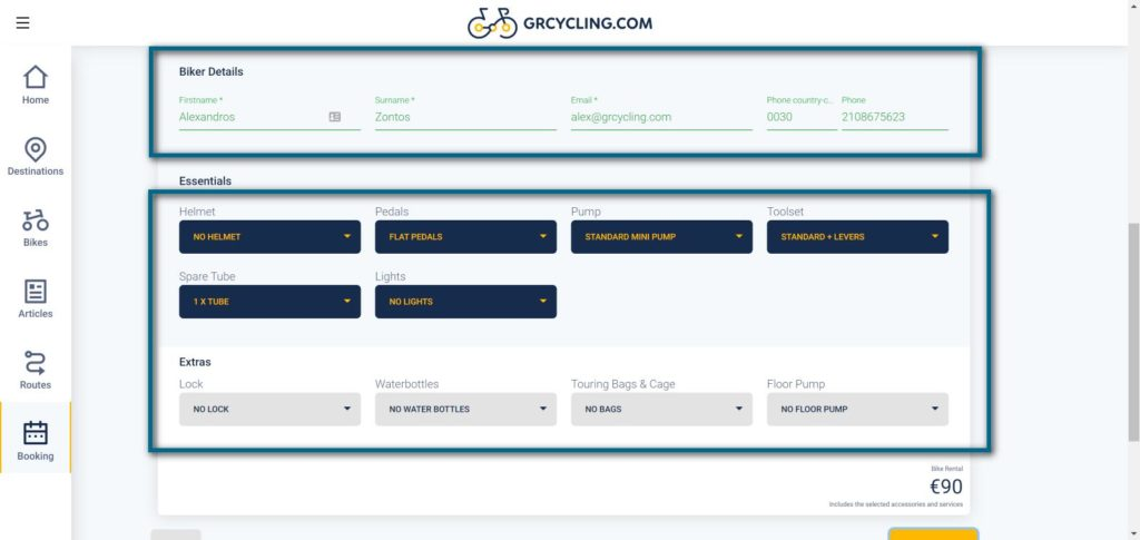 Rent a bike in Greece application: Submit your contact details and add extras