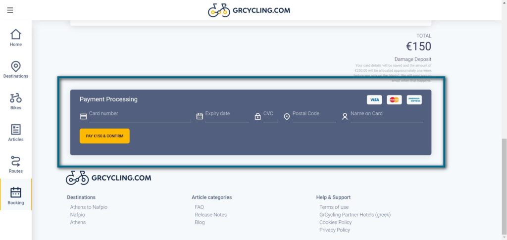 Rent a bike in Greece application: complete your payment