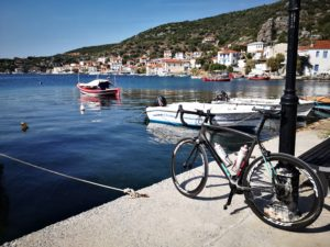 A road bike at the port of a Pelion Village