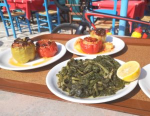 Gemista food as served in Pelio taverns for cyclists