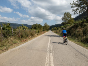 Cycling on the rural road network with no traffic around mt Olympus
