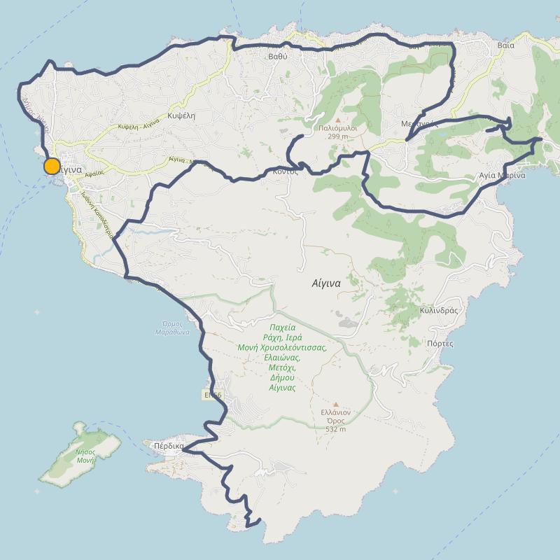 Cycling map of Aegina island