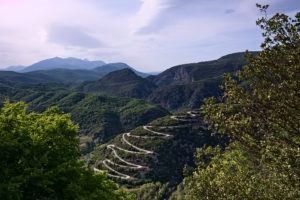 Winding uphill cycling road in Epirus, close to Papingo