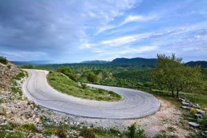 Winding road in Epirus part of the cycling route