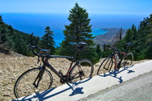 Road bikes at Kefalonia's highest point