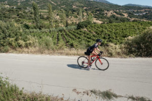 Female cyclist with wine fields during a wine tour in Greece, Nemea