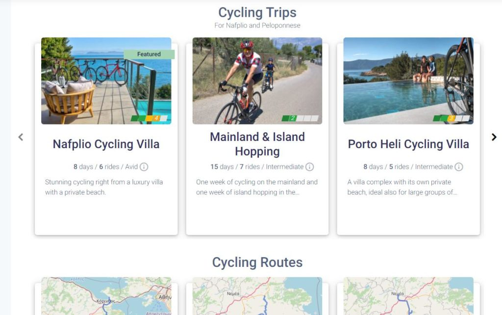 Screenshot of how cycling trips are related to a destination