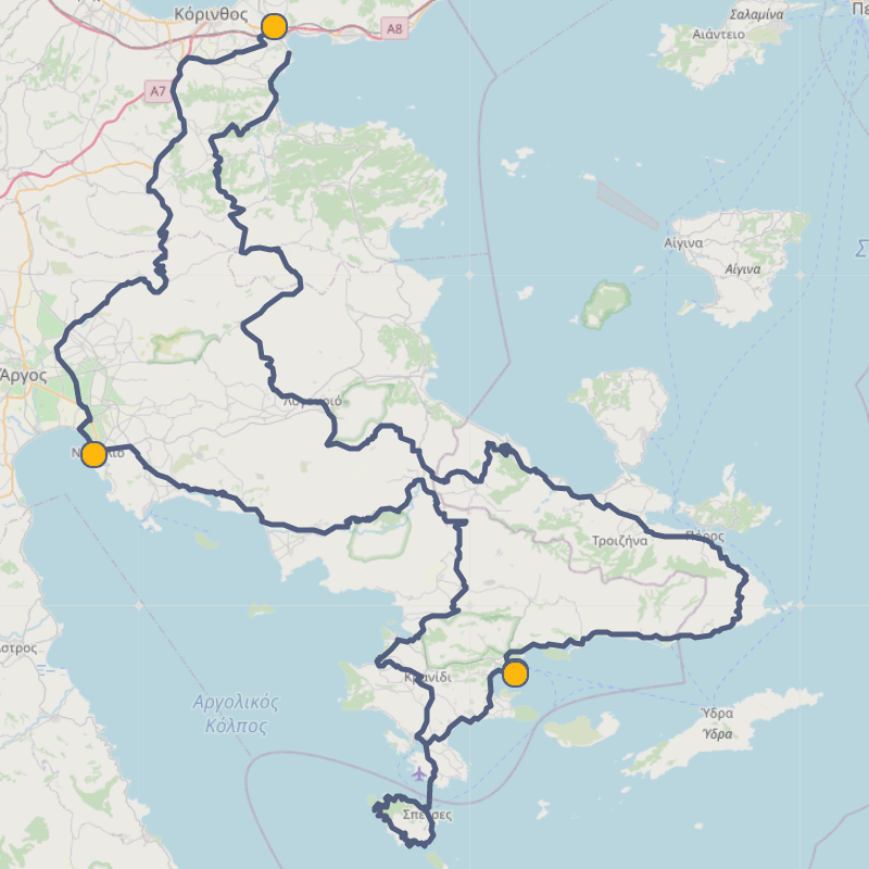 Cycling Routes for Corinth, Nafplio, Spetses, Ermioni