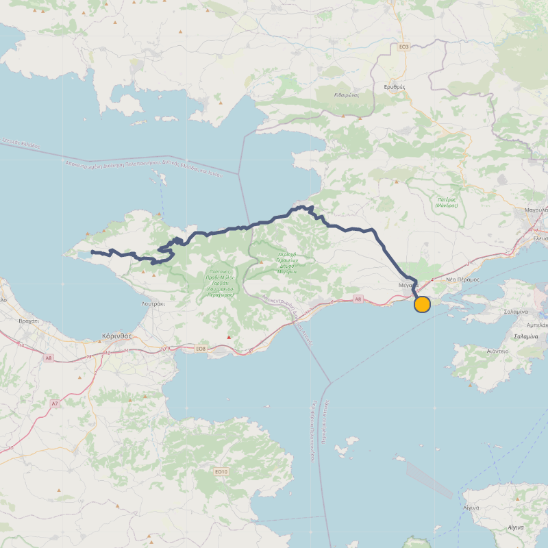 Cycling route towards Vouliagmeni Lagoon