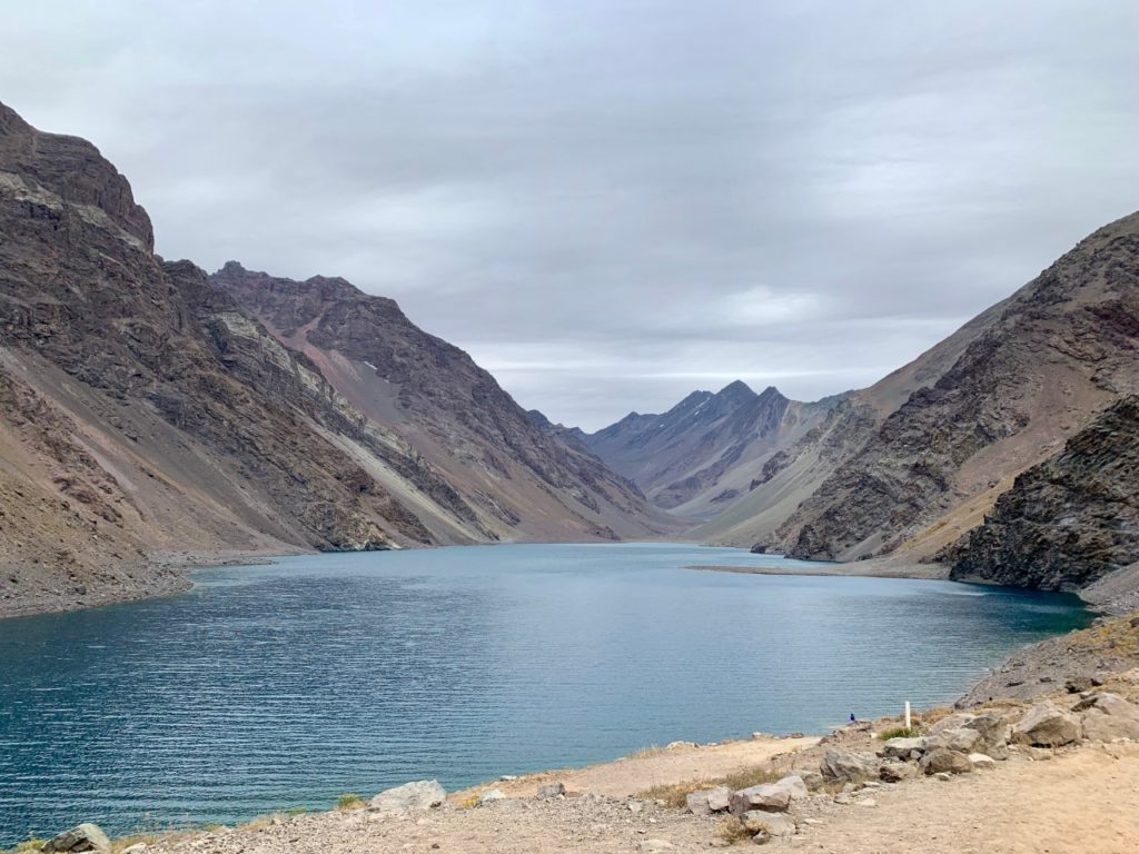 Lake at the top on Portillo while cycling in Chile
