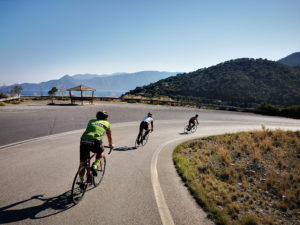 Road cycling on a a coastal road in the Peloponnese