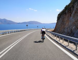 Cycling along the great coastal road from Epidaurus to Porto Cheli
