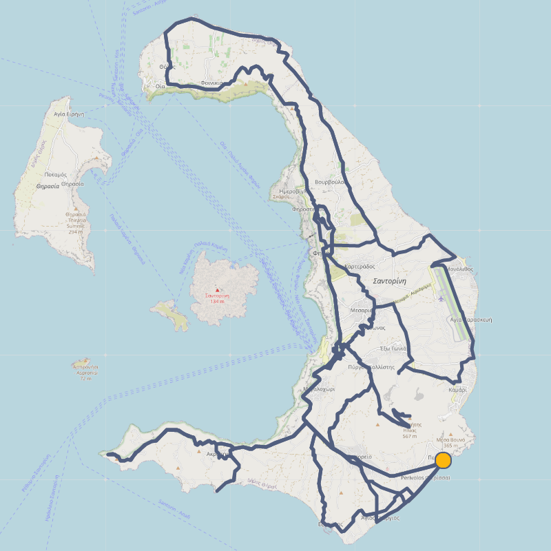 Cycling routes on Santorini